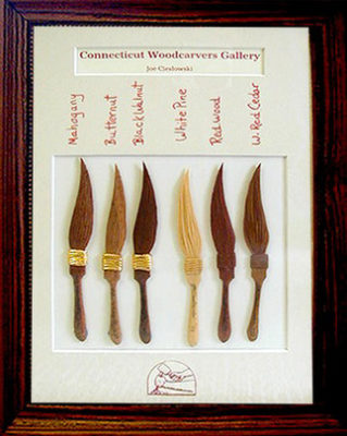 #66 Joe Cieslowski - East Canaan, Connecticut, Rochester Panel Jam March 1999, Six hand carved striping brushes.