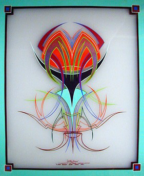 #72B Hal Janssen 'The Little Striper' - Santa Rosa, California July 2000, This is the 2nd of 2 Glass Panels by Hal.